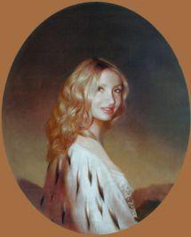 Женский овальный портрет 80х60 см х,м